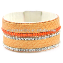 Modeschmuck 2015 Damen Armband Modelle Kristall Leder Wrap Armband