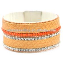 Moda jóias 2015 senhoras pulseira modelos pulseira de couro de cristal pulseira