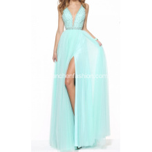Spaghetti Strap Beading V-neck Backless Prom Robe