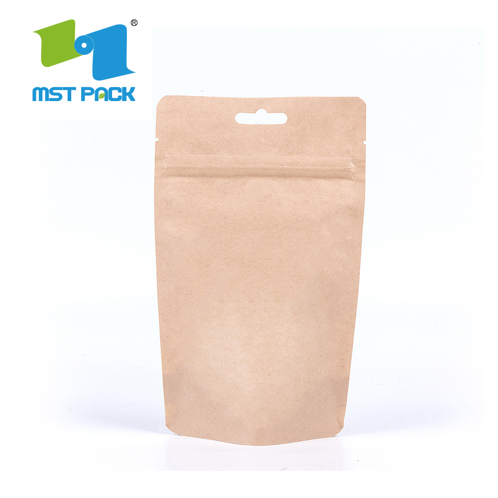 Brown Craft Paper Coffee Packaging Bag Corn biologisch afbreekbaar