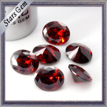 Deep Blood Red Shining Oval Diamond Cutting Cubic Zirconia