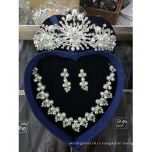 Дешевые Свадебные Аксессуары Для Новобрачных Воздуха Установить Корона Ожерелье Серьги