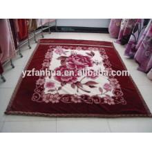 Customed Dark Brown Flower Printed Raschel Mink Blankets