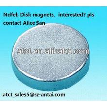 Imán de tierra rara sinterizada disco modificado para requisitos particulares/ndfeb imán