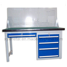 Heavy Duty Steel Workbench Work Table with Tools Cabinet and Pegboard