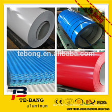 Bobine en aluminium revêtue de couleur pour la fabrication de panneaux de toiture usine