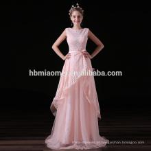 Guangdong nova vinda 2017 alta qualidade rosa laço longo vestido de noite