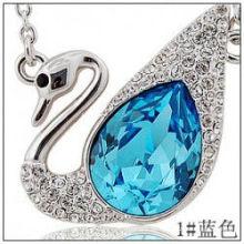 Preiswerter romantischer Schwan Rhinestone Kristallart und weisehalskettenanhänger