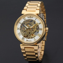 elegant alloy wrist watch with skeleton design mechanical watch