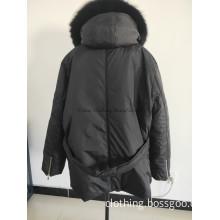 Warm Black Down Jacket with Hood