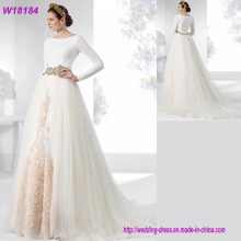 Western Luxury Stylish Long Sleeve White Lace Wedding Dress Bridal