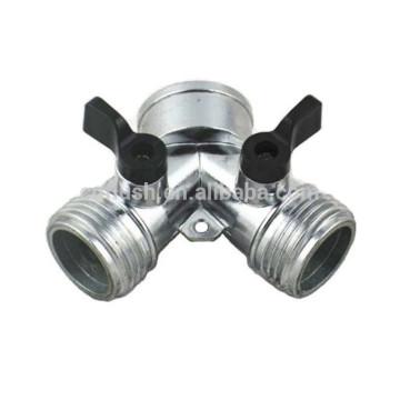 zinc Y hose splitters with valve