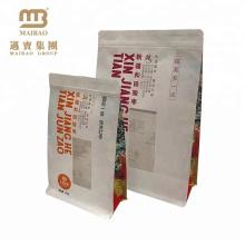 Resealable качество еды Подгонянный Бортовой мешок плоского дна бумажные мешки Kraft с застежкой-молнией и окном