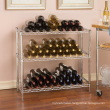 Adjustable DIY Chrome Wire Metal Wine Bottle Display Shelf