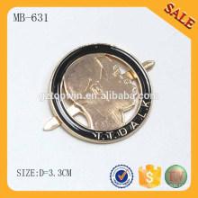MB631 Custom Metal Etiquetas de la caída de la ropa Etiqueta grabada metal de la etiqueta del logotipo para el bolso