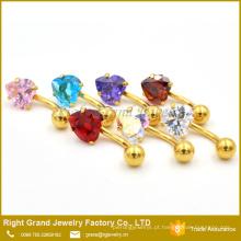 Banhado a ouro Coração de Aço Cirúrgico Cubic Zircon Barriga Anéis Piercing Jóias