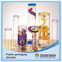 Boîte d'emballage pliante de tube en plastique transparent