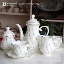 Línea del oro de la forma de la manera del diseño de la forma de la flor 15pcs sistema del café de la porcelana, sistema fino del té de China de hueso sistema del azúcar del café