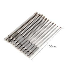 11pcs 100 mm de acero largo magnético Torx T10 T9 T8 seguridad hexagonal juego de destornilladores eléctricos para destornillador magnético Bit Tool Set