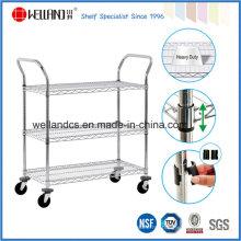 Ajustável Heavy Duty armazenamento de metal de metal Wire Shelving Trolley, Aprovação NSF
