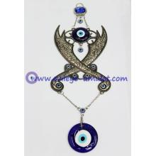 Evil Eye Crossed swords pendant ZULFIQAR scimitar wall hanging, Muslim Caliph Imam