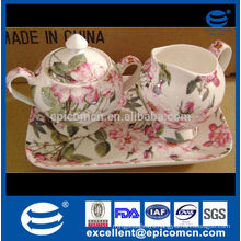 promotion sale fine bone china tea service set sugar pot and creamer with tray