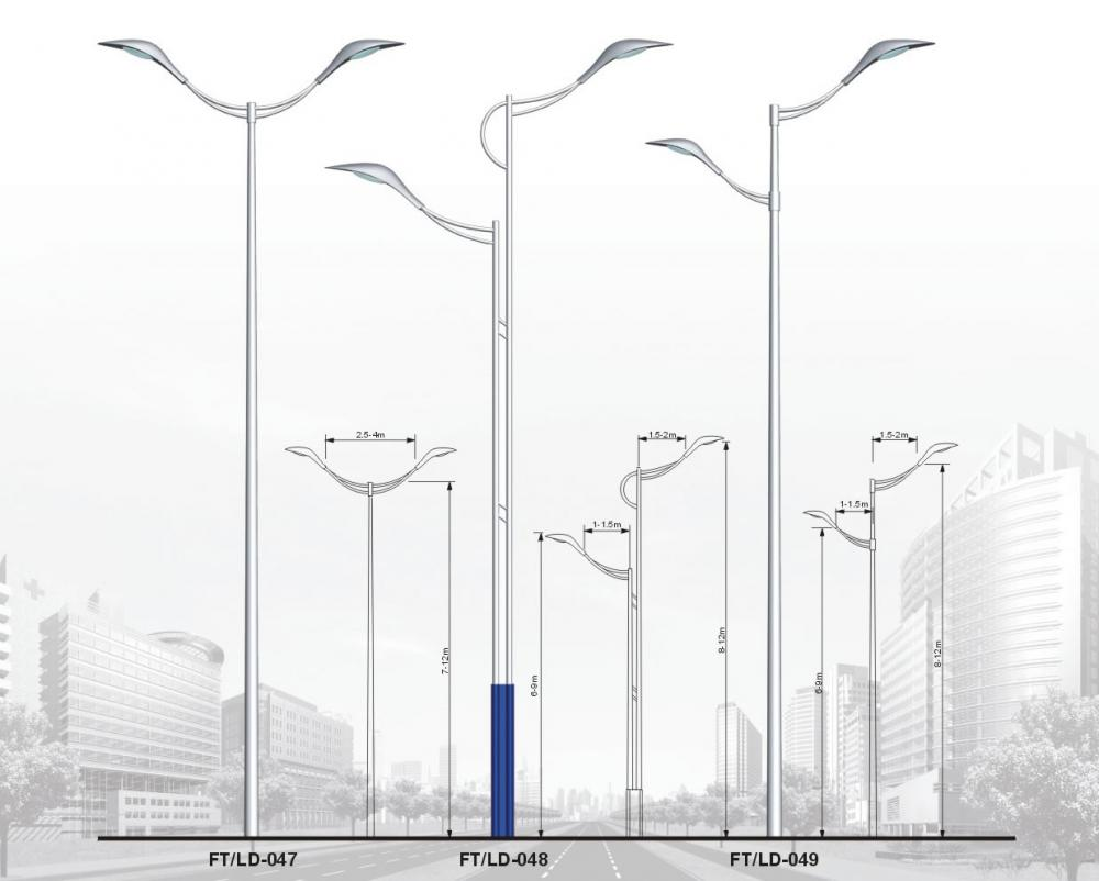 20 meters galvanized steel lighting poles