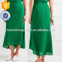 Nueva Moda Verde Crepé Asimétrico Midi Lápiz Falda DEM / DOM Fabricación Al Por Mayor Moda Mujeres Ropa (TA5189S)