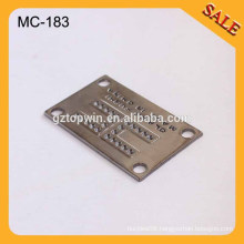 MC183 Fashion custom metal label engraved square plates for jeans gun color