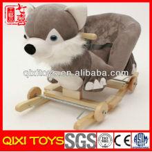 Индивидуальные логотип милый подарок плюшевые лиса качалка с колесами
