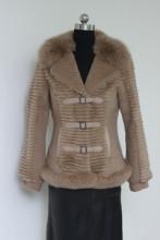 Rabbit fur jacket with fox collar