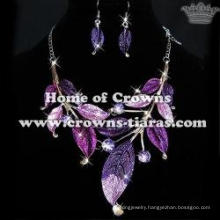 Alloy Diamond Fashion Necklace Sets With Purple Leaves