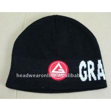 Bordado tricô beanie chapéus com logotipo jacquard