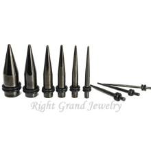 Ampliador de oído anodizado titanio negro Venta al por mayor de cuerpo perforado de acero inoxidable