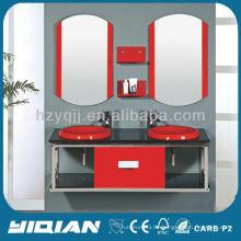 Doppelte becken stilvolles modernes wand montiertes verspiegeltes glaswaschbecken / waschbecken