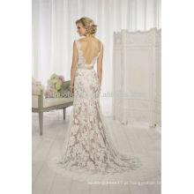 Encantadora 2014 V-Neck Sheer Straps Backless bainha vestido de vestido de casamento de renda com grânulos Champagne Sash acento NB021