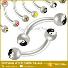 316 L chirurgischer Stahl Augenbraue Body Piercing Barbell mit Logo