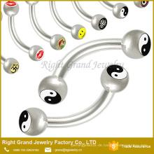 316 L Chirurgenstahl Augenbrauen Piercing Barbell mit Logo