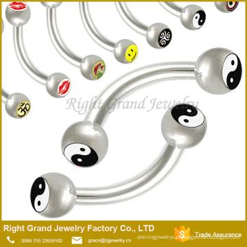 316 litros barbell piercing de aço da sobrancelha de aço cirúrgica com logotipo
