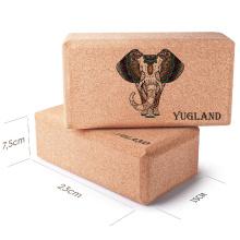 yugland Eco-friendly Customized Logo Gym Fitness Sport Tool Non-Toxic Eco Cork Yoga Block for Yoga Exercises