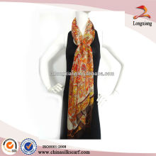2015 China Factory Custom Ladies 5mm Chiffon Long Silk Scarf