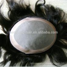 Cheveux humains Mono Cap Toupee pour l'homme