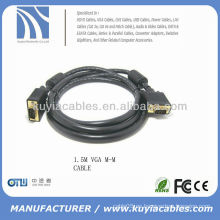 Cable negro del VGA M / M del cable del SVGA del negro plateado del oro Cable del monitor de la computadora