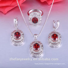 Indian costume sets wholesale fashion red crystal big stone jewelry sets