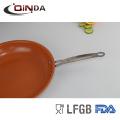 Frigideira larga de alumínio de cobre do punho s / s da borda larga