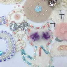 Accessoires de vêtement de bâton d'applique de patch de broderie perlée