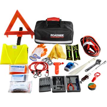 Auferstandenes neues Mehrzweck-Auto-Notfall-Sicherheits-Kit mit Auto-Starthilfe-Erste-Hilfe-Kit am Straßenrand