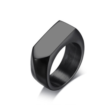 Mens Titanium Steel Blank Surface Square Ring