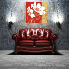 Fondo rojo Gran flor de impresión de lienzo en el tablero de MDF