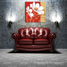 Red Background Big Flower Canvas Printing on MDF board
